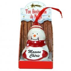 Figurine bonhomme de neige en céramique MAMAN CHERIE