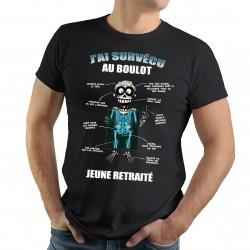 """T-Shirt Spécial RETRAITE """"J'ai survécu au boulot"""""""