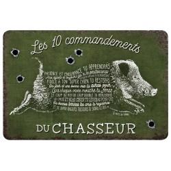"""Plaque vintage """"10 commandements du chasseur"""""""