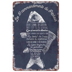 """Plaque vintage """"10 commandements du pêcheuré"""""""