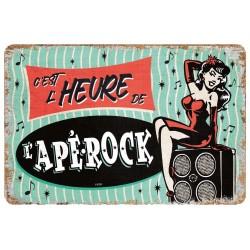 """Plaque vintage """"C'est l'heure de l'apérock"""""""