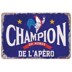 """Plaque vintage """"Champion de l'apéro"""""""