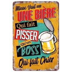 """Plaque vintage """"Mieux vaut une bière..."""""""