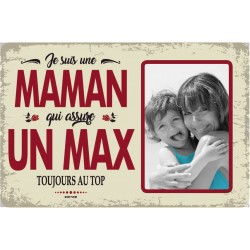 "Plaque vintage ""Maman qui assure un max"""