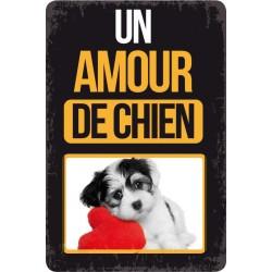 """Plaque vintage """"Un amour de chien"""""""