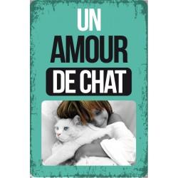 """Plaque vintage """"Un amour de chat"""""""