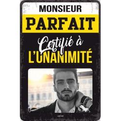 """Plaque vintage """"Monsieur parfait"""""""