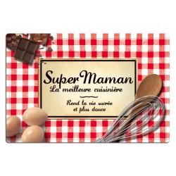 Planche à découper en verre SUPER MAMAN