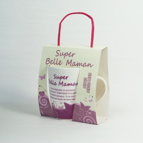 Mug sentiments Super Belle-Maman dans sa boite cadeau