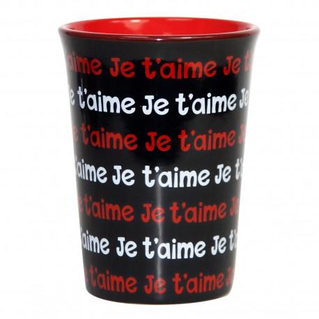 Mug / Tasse en céramique JE T'AIME Fond noir