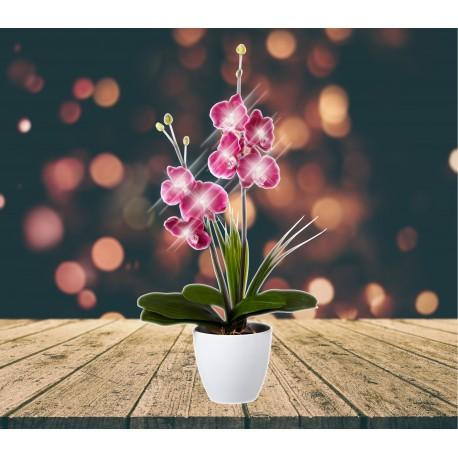 Lampe LED orchidée rouge dans pot carré