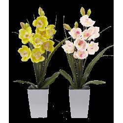 Lampe LED orchidée blanche dans grand pot