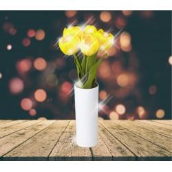 Lampe LED tulipe jaune dans vase
