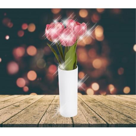 Lampe LED tulipe rouge dans vase