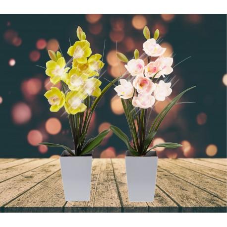Lampe LED orchidée jaune dans grand pot
