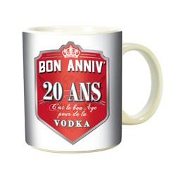 MUG anniversaire - 20 ANS - Fan de Vodka