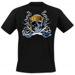 T-Shirt Tête de mort sabres - Noir